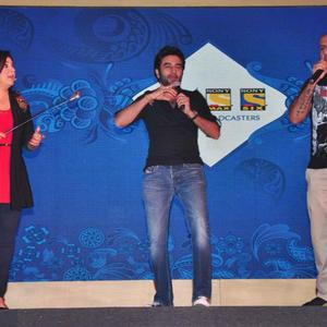 Farah,Shekhar And Vishal On Stage At Sony MAX IPL Press Conference 2013
