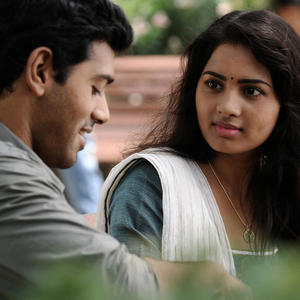 Ashwin And Srushti Cute Look Photo Still From Tamil Movie Megha