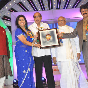 T.Subbarami Reddy And Akkineni Nageswara Rao On The Stage At TSR-TV9 National Film Awards 2011-2012 Presentation Function