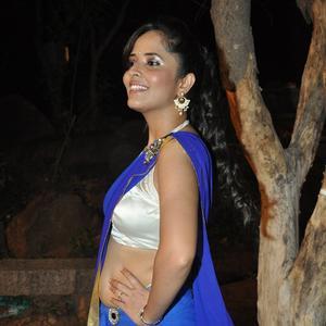 Anasuya In Blue Transparent Backless Saree With Sleeveless Blouse Hot