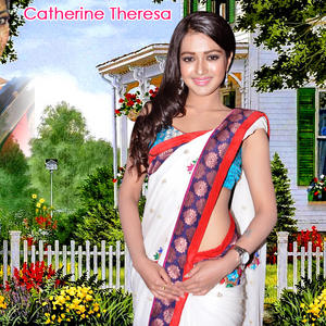 Catherine Tresa In Saree Nice Look Wallpaper Photo Still