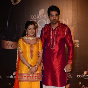 Neha Bagga And Adhvik Mahajan Posed In Red Carpet At Colors TV 3rd Golden Petal Awards 2013