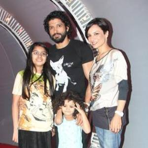 Farhan Akhtar With Wife Adhuna Bhabani Akhtar And Kids Cool Photo