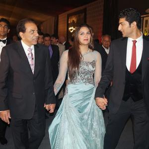 Ahana And Vaibhav With Dharmendra At Reception Party In Mumbai