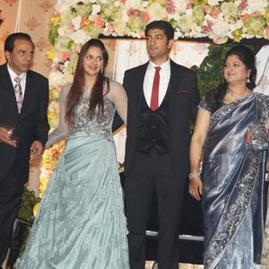 Beaming Bride With Her Groom Vaibhav At Her Wedding Reception Party