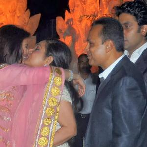 Aishwarya And Tina Bid Goodbye While Anil And Abhishek Look On At Kokilaben Ambani's Birthday Bash