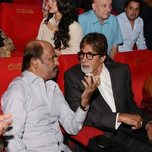 Amitabh Chatting With Rajinikanth And Other Celebs Present At The Launch Of The Film Kochadaiiyan Of Rajni At Mumbai