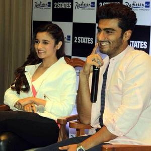 Alia And Arjun Smiling Pic During Promotion Of 2 States At Ahmedabad