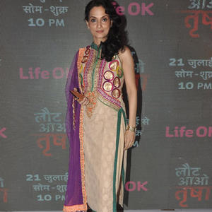 Rajeshwari Sachdev Strikes A Pose During The Laut Aao Trisha Serial Press Conference