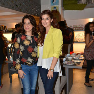 Neelam Kothari And Twinkle Khanna Posed For Camera During Sanvari And Anjori Alagh Houseproud Store Launch
