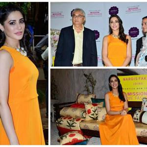 Nargis Fakhri Looking Very Hot During The Launch Of Mission Home Fashion