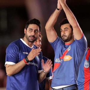 Abhishek Bachchan And Ranbir Kapoor Present At The Opening Ceremony Of ISL Football Match 2014