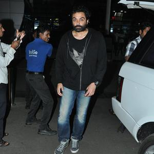 Bobby Deol In Bearded And Curly Hair Looked Messy At The Mumbai Airport