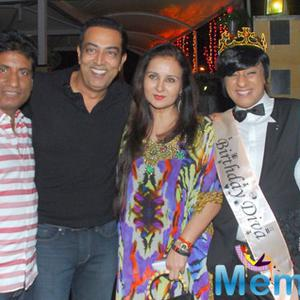 Raju Srivastav,Vindu Dara Singh,Poonam Dhillon And Rohit Verma Clicked At The Birthday Party Of Designer Rohit Verma