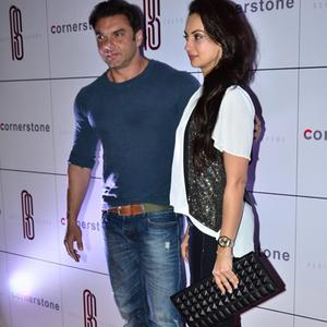 Sohail Khan And Wife Seema Sachdev Khan Posed At A Bash Hosted By Rohit Sharma