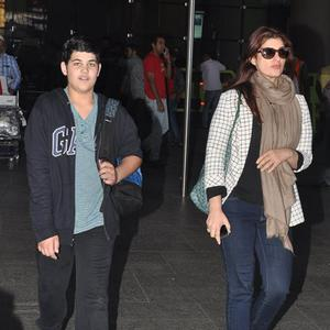 Twinkle Khanna And Her Son Aarav Kumar Spotted At Mumbai Airport