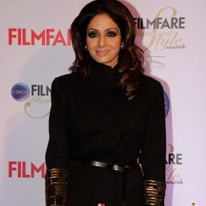 Sridevi Kapoor In Black Gown At The Ciroc Filmfare Glamour And Style Awards 2015