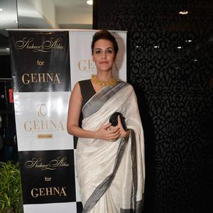 Neha Dhupia Traditional Look During The Launch Of Shaheen Abbas Collection In Gehna Store