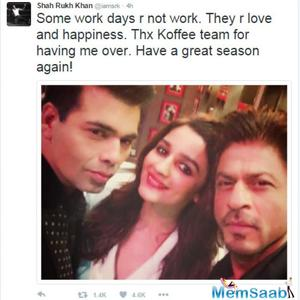 Alia and SRK will rock the Koffee with Karan first episode