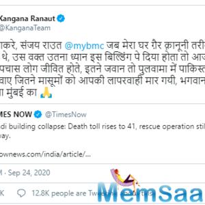 Kangana Ranaut takes a dig at Maharashtra Government after Bhiwandi Building collapse
