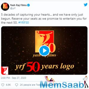 Aditya Chopra unveils new logo of Yash Raj Films on the occasion of its 50th anniversary