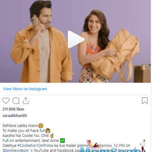 Coolie No.1: Trailer of Sara Ali Khan and Varun Dhawan starrer to release tomorrow on Amazon Prime