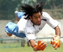 Mahendra Singh Dhoni Try To Catch The Ball
