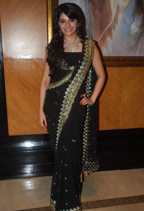 Prachi Desai in Designer Black Embroidery Satin Saree