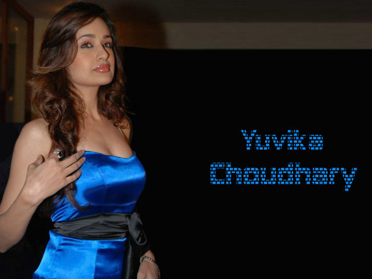 Yuvika Choudhary sleeveless blue dress wallpaper