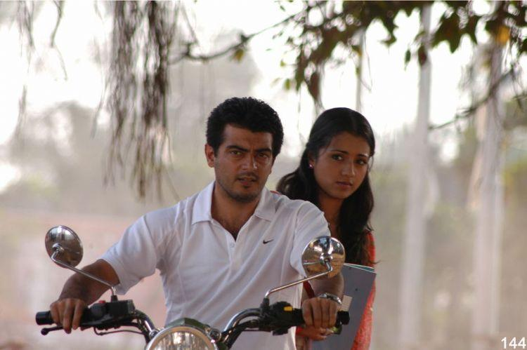 Ajith,Trisha Poorna Market movie bike still