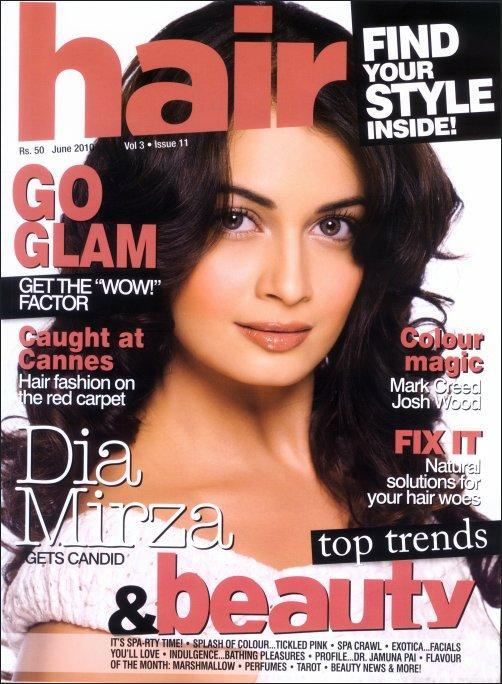 Dia mirza Hair Magazine India