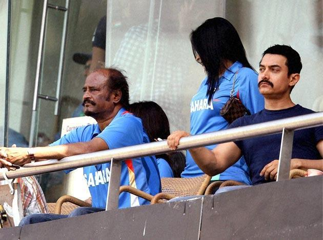 Aamir Khan at ICC cricket world cup semi final match