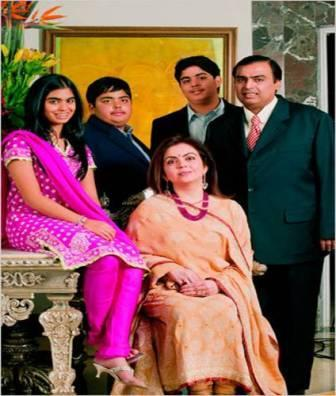 Anil Ambani with wife and two sons