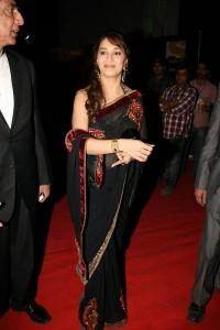 Madhuri Dixit with black saree on red carpet