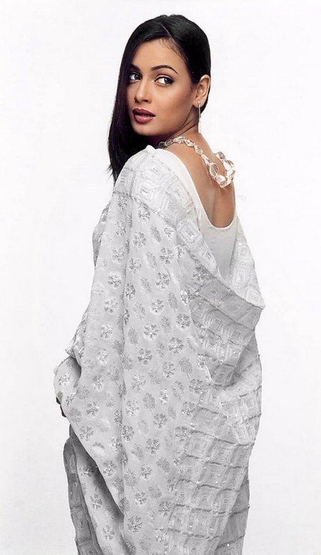 Dia Mirza saree white