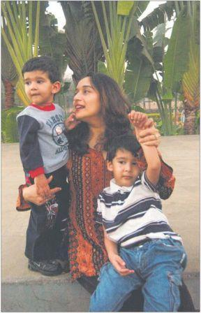 Madhuri Dixit with sons arin and ryan