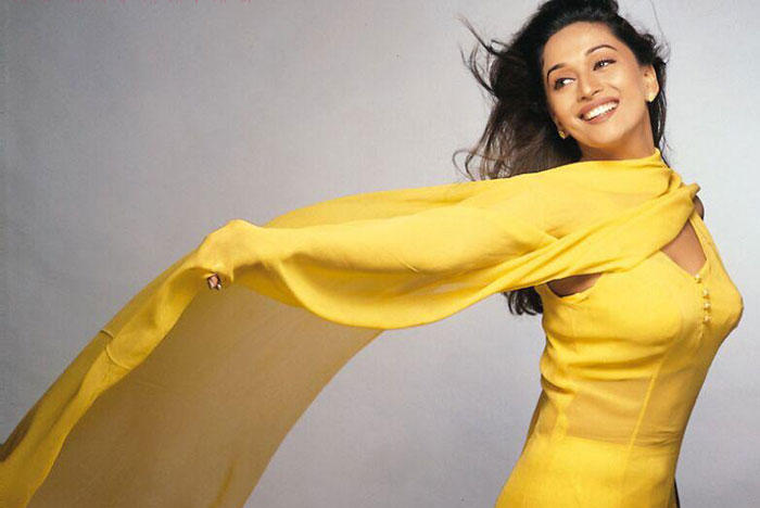 Madhuri Dixit  yellow color dress sweety still