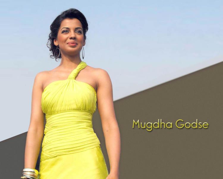 Mugdha Godse yellow color dress still