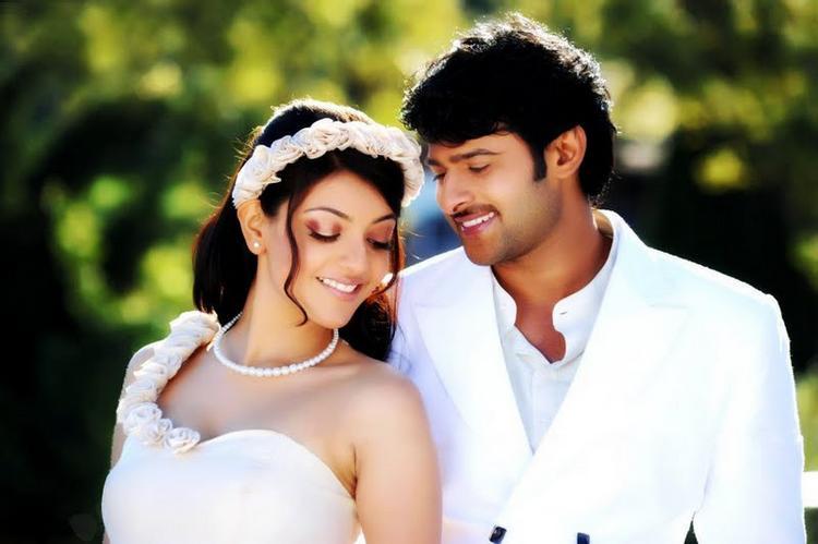 Prabhas and kajal Darling movie romantic song still