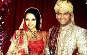 MS Dhoni and Sakshi Singh Rawat wedding photo