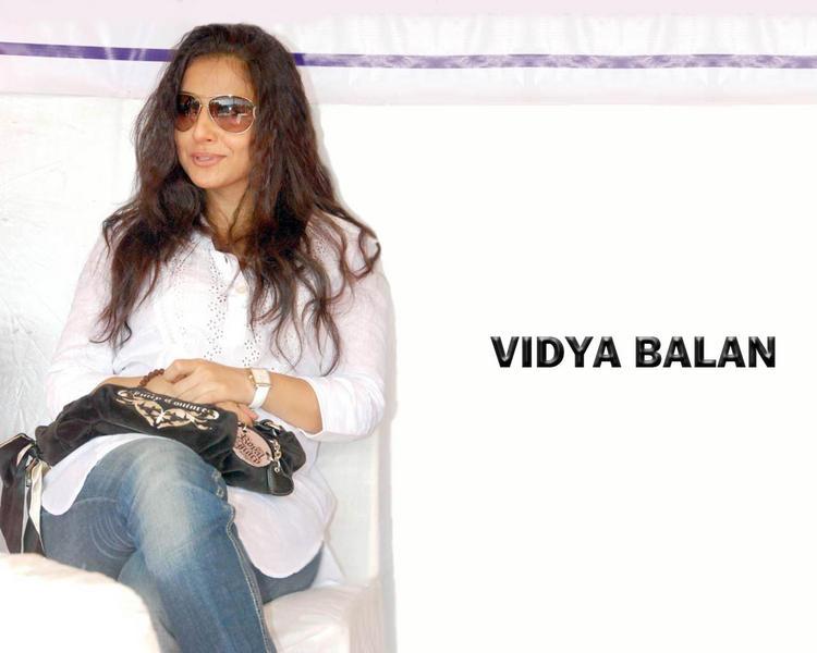Vidya Balan white shirt still