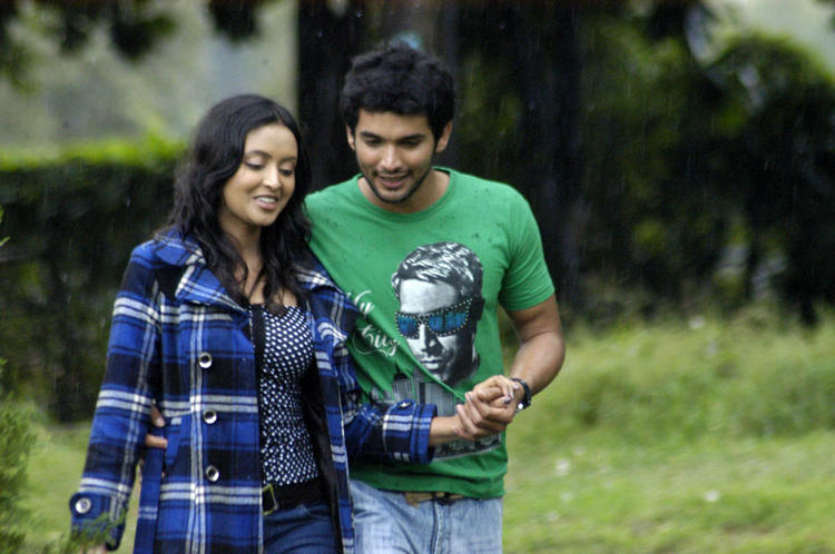 Diganth green color dress stills by jolly boys movie