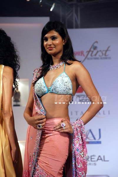 Sayali Bhagat in bikini top Saree