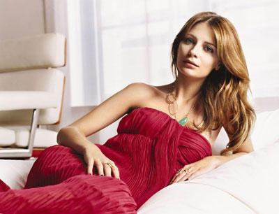 Mischa barton red color dress cute photo