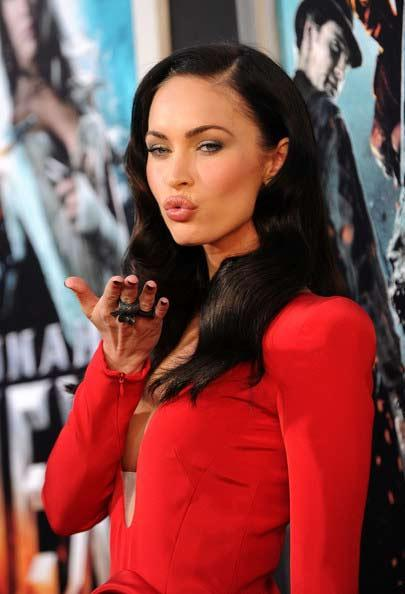 Megan Fox flying kiss hot still