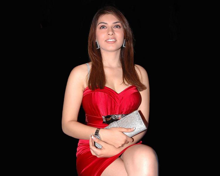 Hansika Motwani red hot sleeveless dress still