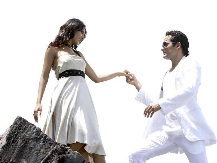 Amrita Rao with Akshaye Khanna white dress still