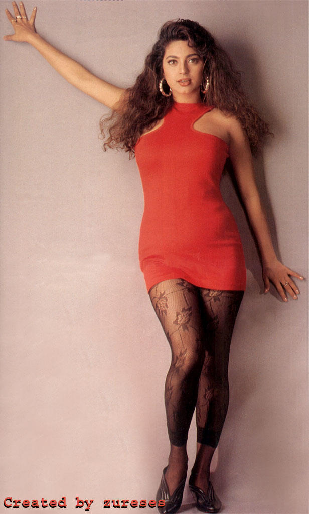Juhi Chawla red dress sexiest wallpaper