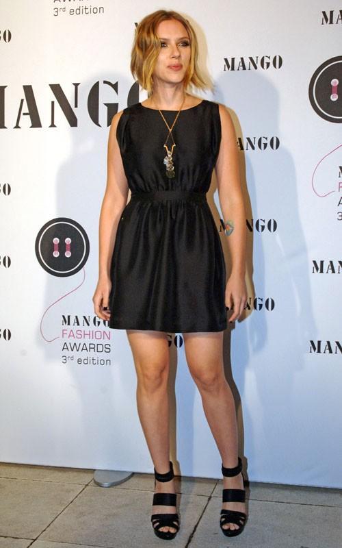 Scarlett Johansson short black dress hot still