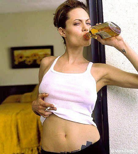 Angelina Jolie drinking pictures